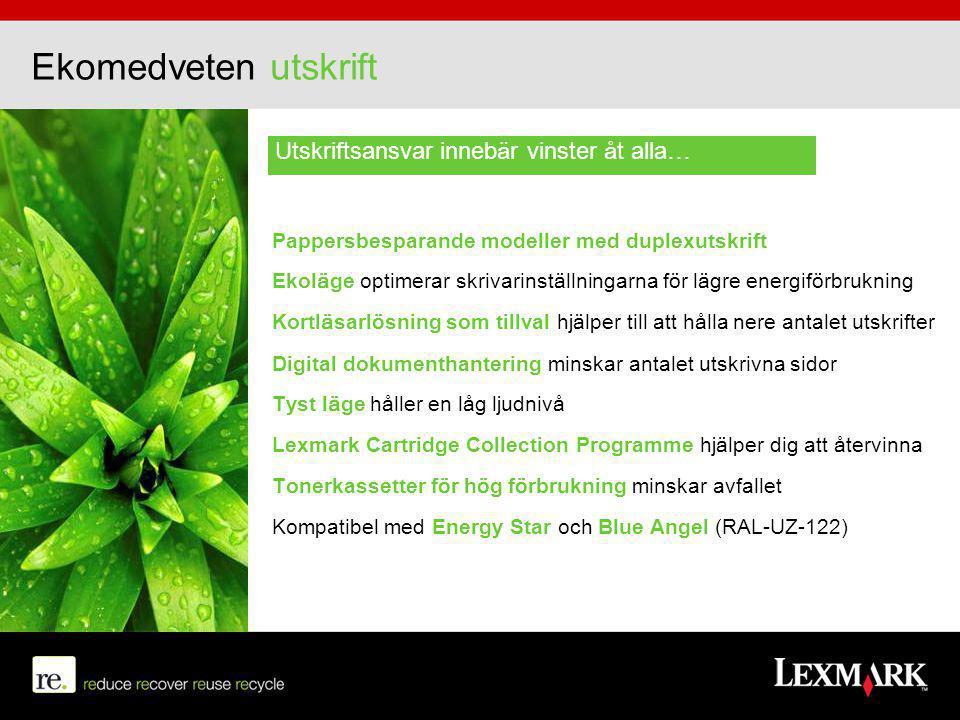 Ekomedveten utskrift Pappersbesparande modeller med duplexutskrift Ekoläge optimerar skrivarinställningarna för lägre energiförbrukning Kortläsarlösni