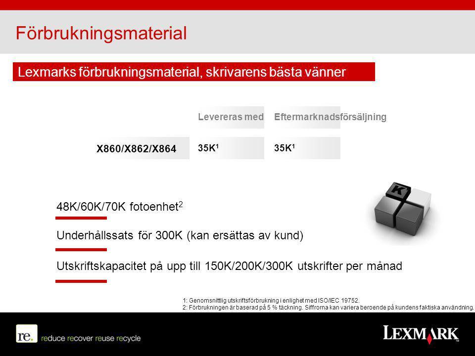 Förbrukningsmaterial Levereras medEftermarknadsförsäljning 35K 1 X860/X862/X864 Underhållssats för 300K (kan ersättas av kund) Utskriftskapacitet på u
