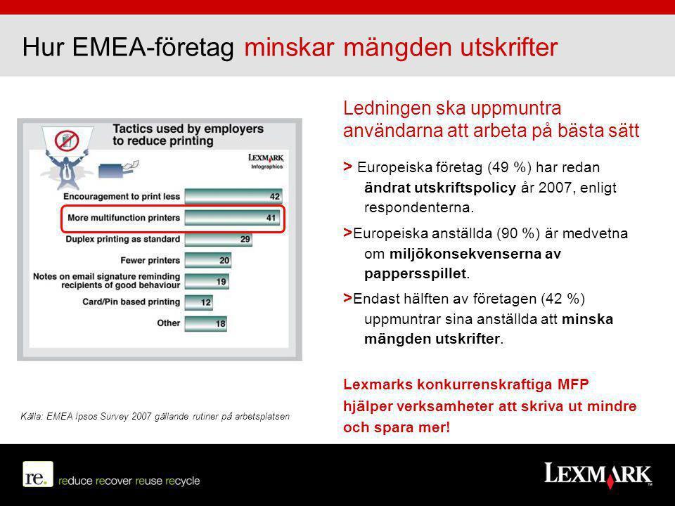Förbättrad infrastruktur 10-20% Förbättra företagsprocesserna 40% + Minska utskriftsvolymen 30% + Förbättrad tillverkningskedja 20% + Print less, Save more med Lexmark Valet av maskinvara är grunden för att kunna minska utskriftskostnaderna > Genom att kombinera och standardisera enfunktionsenheter med Lexmarks MFP- enheter kan du uppnå stora besparingar > Funktionaliteten hos en MFP är nyckeln till att minska antalet utskrifter och att förbättra verksamhetens arbetsgångar > Rätt förbrukningsvaror och tjänster kommer också att förbättra kostnadskedjan