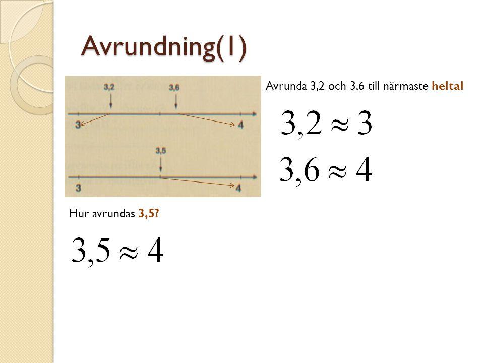 Avrundning(1) Avrunda 3,2 och 3,6 till närmaste heltal Hur avrundas 3,5?