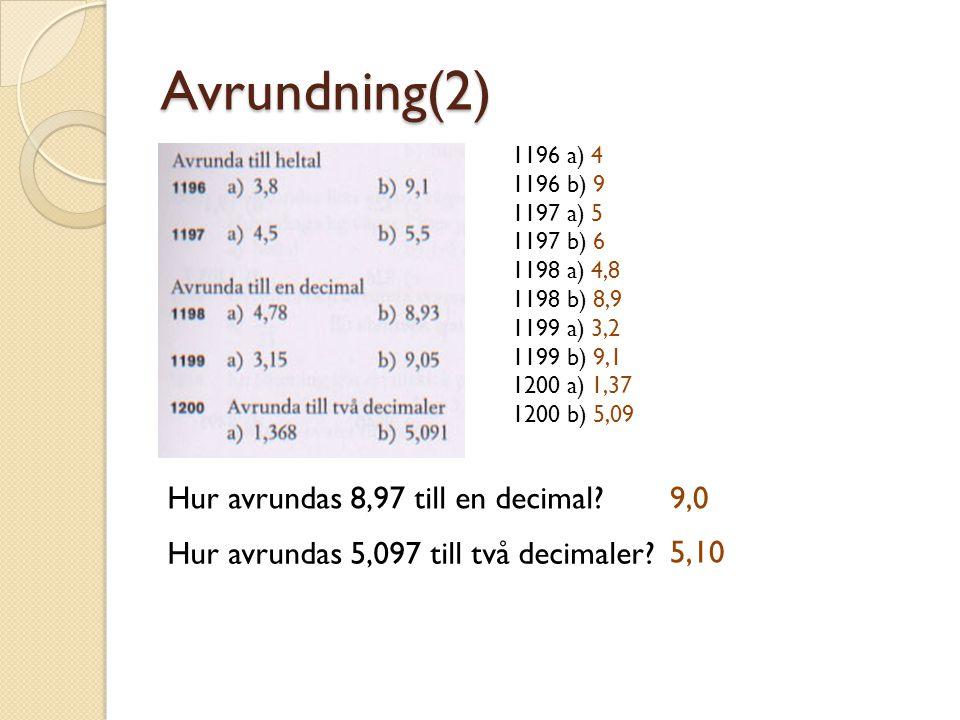 Avrundning(2) 1196 a) 4 1196 b) 9 1197 a) 5 1197 b) 6 1198 a) 4,8 1198 b) 8,9 1199 a) 3,2 1199 b) 9,1 1200 a) 1,37 1200 b) 5,09 Hur avrundas 8,97 till
