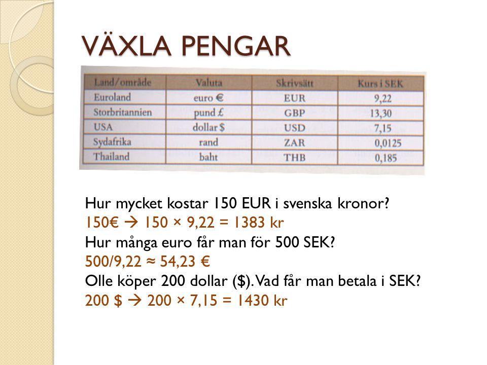 VÄXLA PENGAR Hur mycket kostar 150 EUR i svenska kronor? 150€  150 × 9,22 = 1383 kr Hur många euro får man för 500 SEK? 500/9,22 ≈ 54,23 € Olle köper