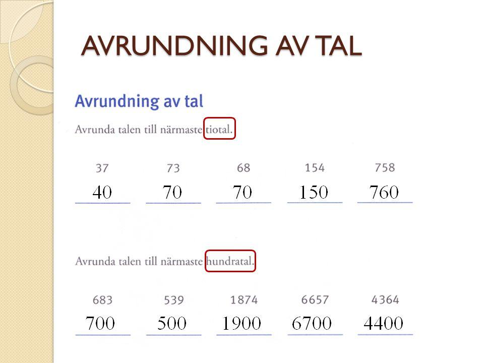 AVRUNDNING AV TAL