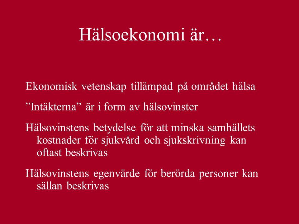 """Hälsoekonomi är… Ekonomisk vetenskap tillämpad på området hälsa """"Intäkterna"""" är i form av hälsovinster Hälsovinstens betydelse för att minska samhälle"""