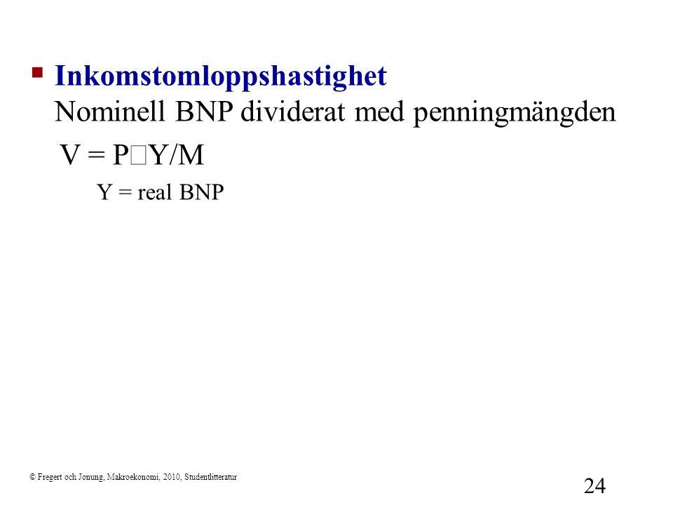 © Fregert och Jonung, Makroekonomi, 2010, Studentlitteratur 24  Inkomstomloppshastighet Nominell BNP dividerat med penningmängden V = P  Y/M Y = rea