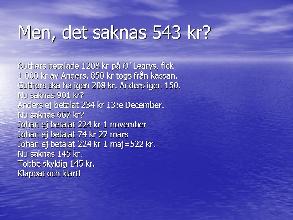 Mer siffror från fjolåret Tipsvinst+ 2 933 kr Hemmaträff - 680 kr O`Learys- 2 708 kr Trisslotter (900-375)- 525 kr - 3 913 Minus på säsongen- 980 I ka