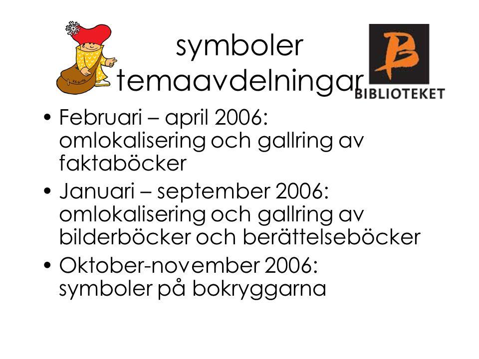 Februari – april 2006: omlokalisering och gallring av faktaböcker Januari – september 2006: omlokalisering och gallring av bilderböcker och berättelse