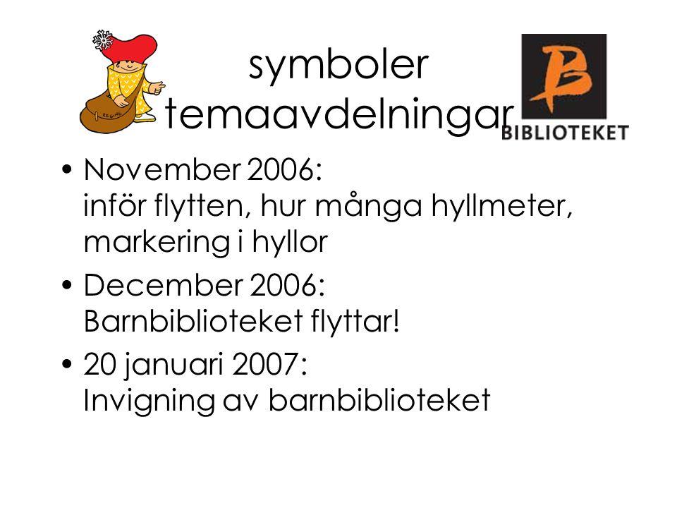 symboler temaavdelningar November 2006: inför flytten, hur många hyllmeter, markering i hyllor December 2006: Barnbiblioteket flyttar! 20 januari 2007