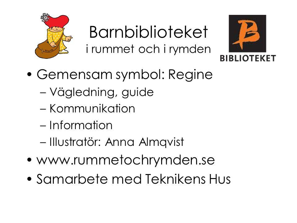 Barnbiblioteket i rummet och i rymden Gemensam symbol: Regine –Vägledning, guide –Kommunikation –Information –Illustratör: Anna Almqvist www.rummetoch