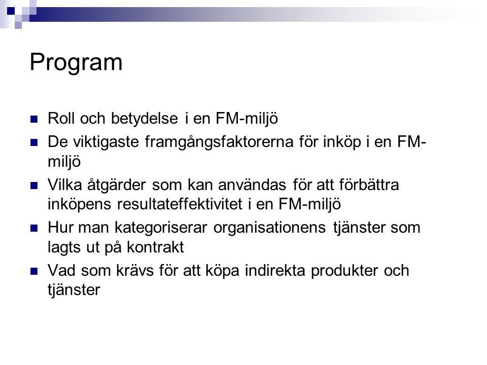 Program Roll och betydelse i en FM-miljö De viktigaste framgångsfaktorerna för inköp i en FM- miljö Vilka åtgärder som kan användas för att förbättra