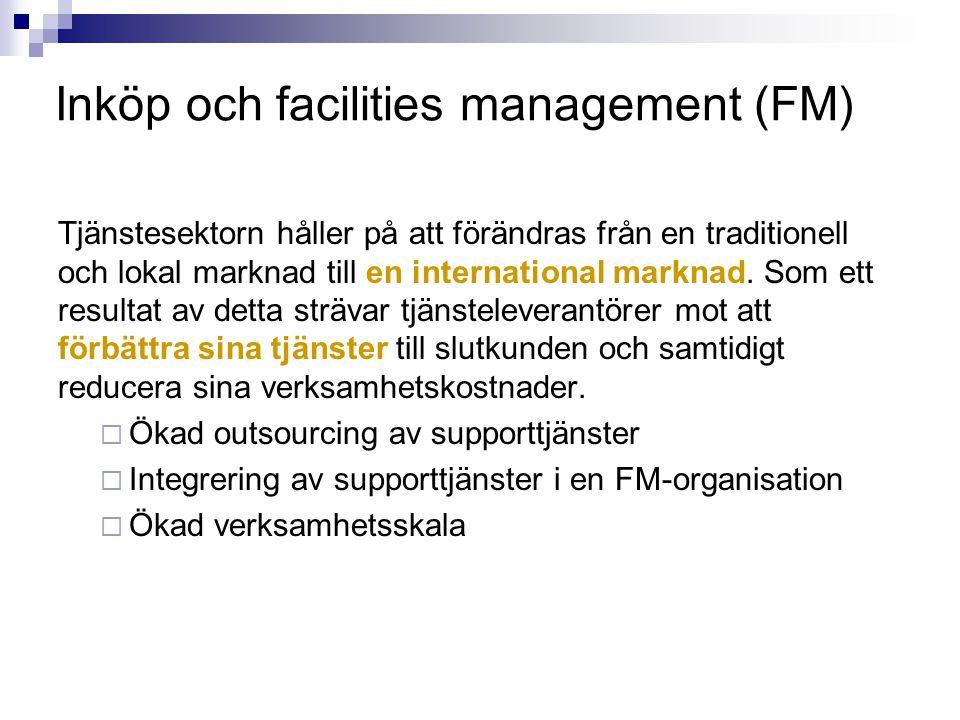 Inköp och facilities management (FM) Tjänstesektorn håller på att förändras från en traditionell och lokal marknad till en international marknad. Som