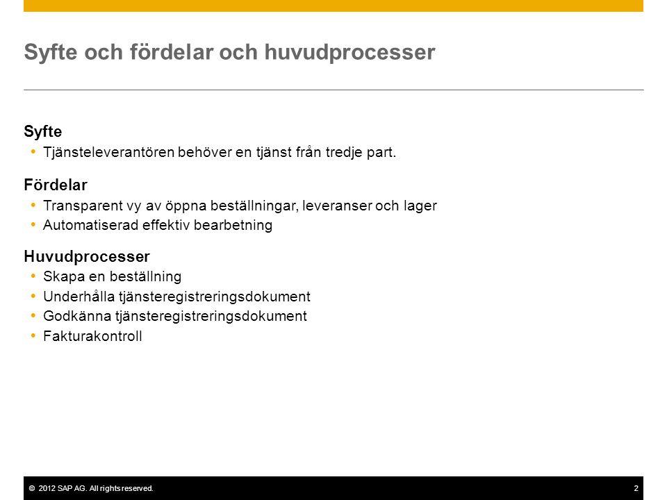 ©2012 SAP AG. All rights reserved.2 Syfte och fördelar och huvudprocesser Syfte  Tjänsteleverantören behöver en tjänst från tredje part. Fördelar  T
