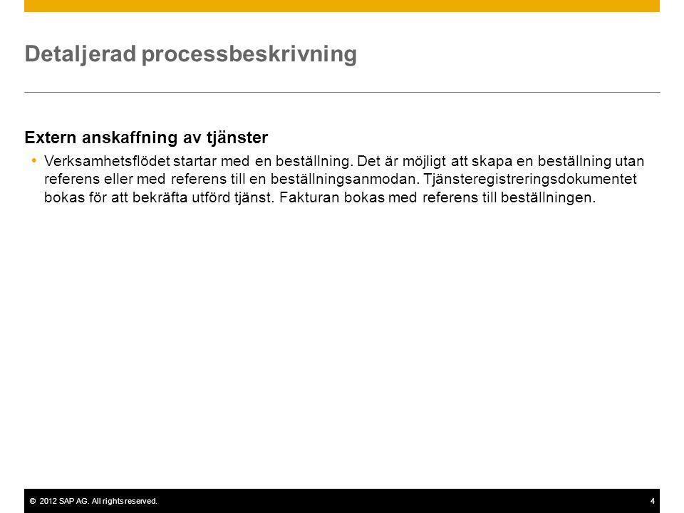 ©2012 SAP AG. All rights reserved.4 Detaljerad processbeskrivning Extern anskaffning av tjänster  Verksamhetsflödet startar med en beställning. Det ä