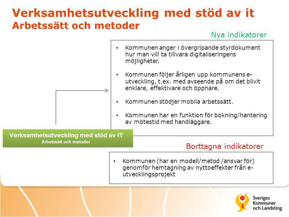Verksamhetsutveckling med stöd av it Arbetssätt och metoder Nya indikatorer Borttagna indikatorer Kommunen anger i övergripande styrdokument hur man vill ta tillvara digitaliseringens möjligheter.