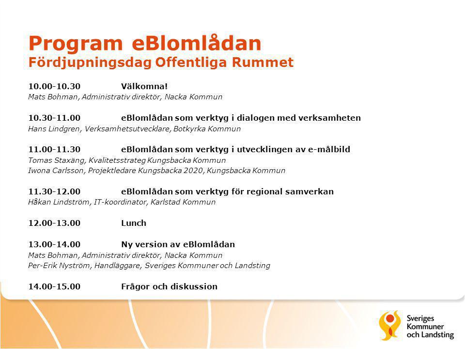 Program eBlomlådan Fördjupningsdag Offentliga Rummet 10.00-10.30 Välkomna.