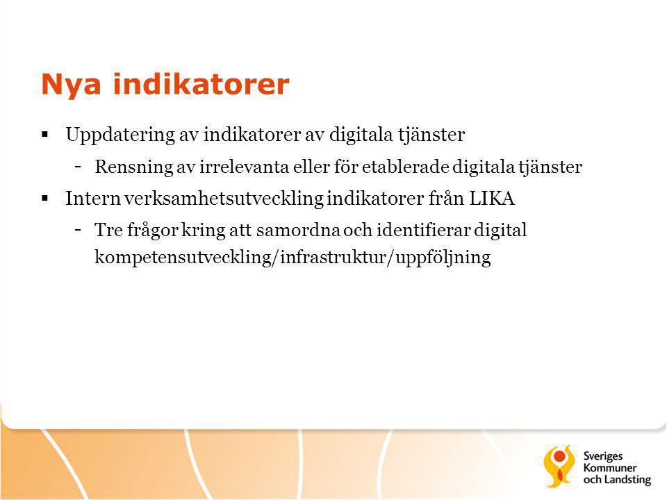 Nya indikatorer  Uppdatering av indikatorer av digitala tjänster - Rensning av irrelevanta eller för etablerade digitala tjänster  Intern verksamhetsutveckling indikatorer från LIKA - Tre frågor kring att samordna och identifierar digital kompetensutveckling/infrastruktur/uppföljning