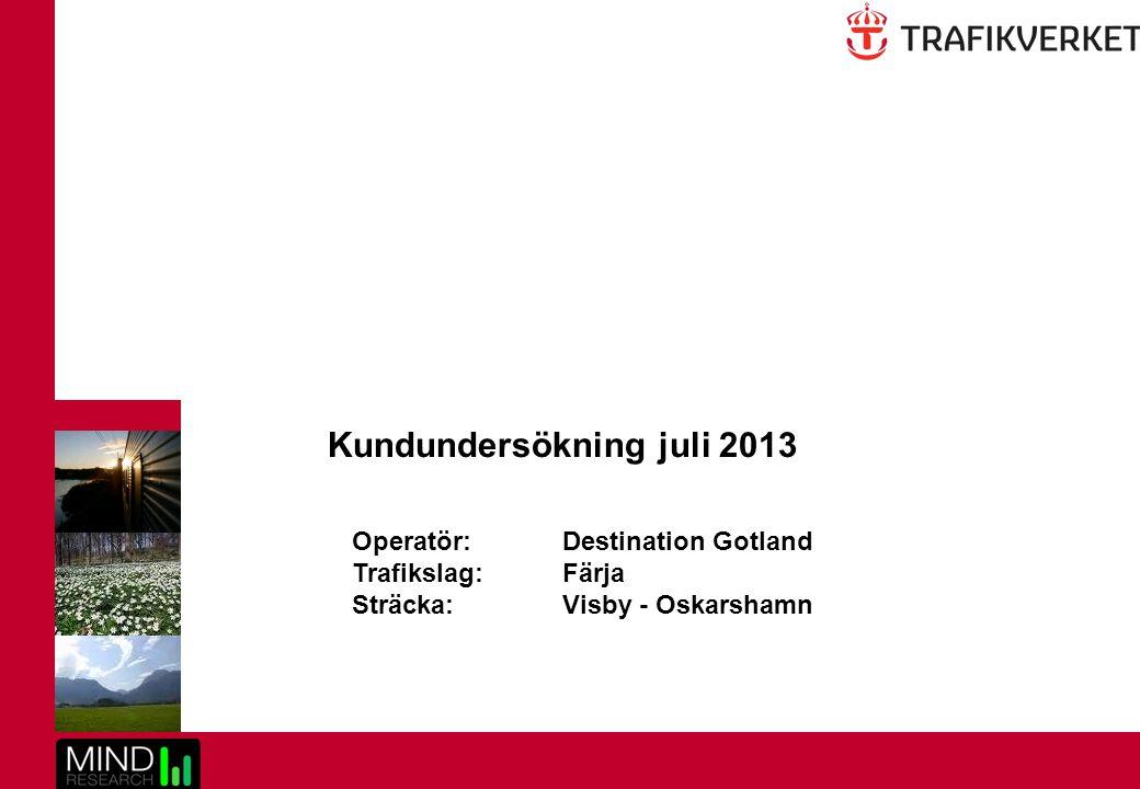 2 Kundundersökning juli 2013 Visby - Oskarshamn Innehållsförteckning Bakgrund och syfteSid 3 MetodbeskrivningSid 4 Klassificering av indexnivåerSid 5 Drivkraftsanalys och prioriteringslistaSid 6-8 SammanfattningSid 9-10 ResultatSid 11-46