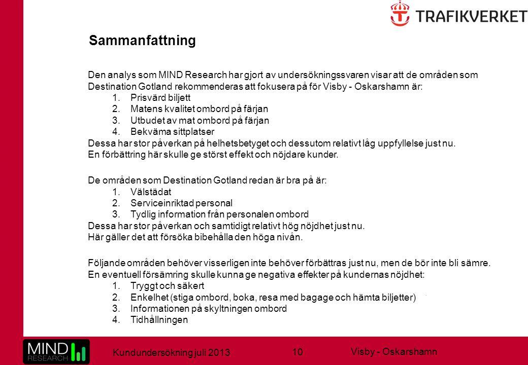 10 Kundundersökning juli 2013 Visby - Oskarshamn Den analys som MIND Research har gjort av undersökningssvaren visar att de områden som Destination Go