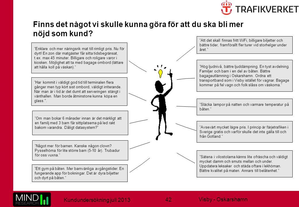 """42 Kundundersökning juli 2013 Visby - Oskarshamn Finns det något vi skulle kunna göra för att du ska bli mer nöjd som kund? """"Släcka lampor på natten o"""