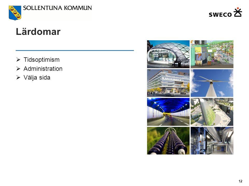 Lärdomar  Tidsoptimism  Administration  Välja sida 12