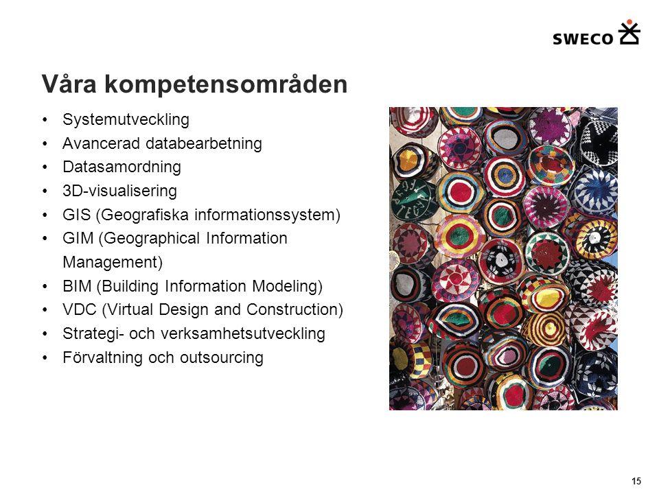 Våra kompetensområden Systemutveckling Avancerad databearbetning Datasamordning 3D-visualisering GIS (Geografiska informationssystem) GIM (Geographical Information Management) BIM (Building Information Modeling) VDC (Virtual Design and Construction) Strategi- och verksamhetsutveckling Förvaltning och outsourcing 15