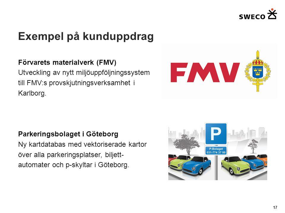 Exempel på kunduppdrag 17 Förvarets materialverk (FMV) Utveckling av nytt miljöuppföljningssystem till FMV:s provskjutningsverksamhet i Karlborg.