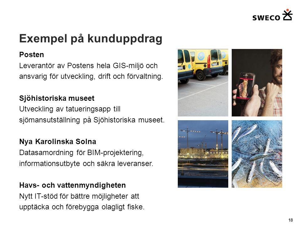 Exempel på kunduppdrag 18 Posten Leverantör av Postens hela GIS-miljö och ansvarig för utveckling, drift och förvaltning.