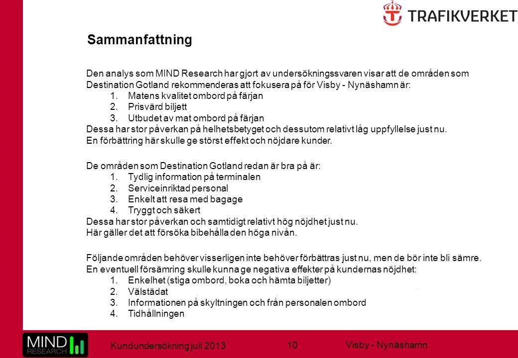 10 Kundundersökning juli 2013 Visby - Nynäshamn Den analys som MIND Research har gjort av undersökningssvaren visar att de områden som Destination Got