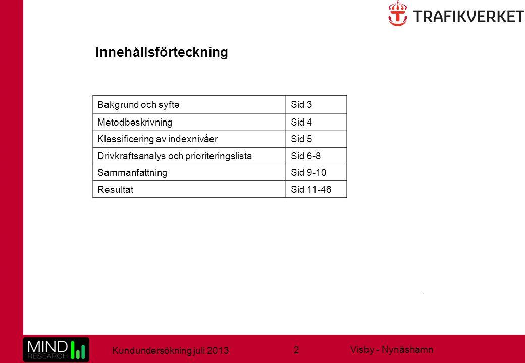 2 Kundundersökning juli 2013 Visby - Nynäshamn Innehållsförteckning Bakgrund och syfteSid 3 MetodbeskrivningSid 4 Klassificering av indexnivåerSid 5 Drivkraftsanalys och prioriteringslistaSid 6-8 SammanfattningSid 9-10 ResultatSid 11-46