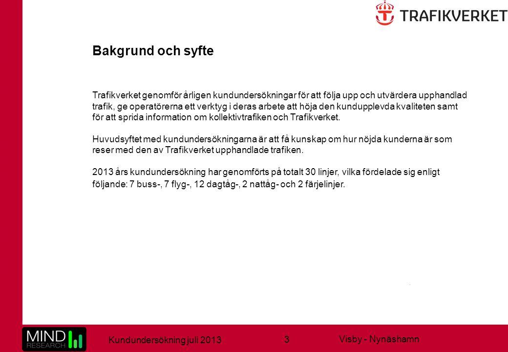 3 Kundundersökning juli 2013 Visby - Nynäshamn Trafikverket genomför årligen kundundersökningar för att följa upp och utvärdera upphandlad trafik, ge operatörerna ett verktyg i deras arbete att höja den kundupplevda kvaliteten samt för att sprida information om kollektivtrafiken och Trafikverket.