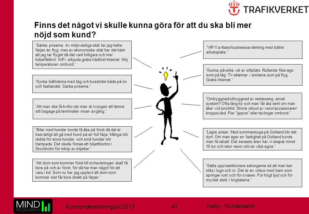 42 Kundundersökning juli 2013 Visby - Nynäshamn Finns det något vi skulle kunna göra för att du ska bli mer nöjd som kund.