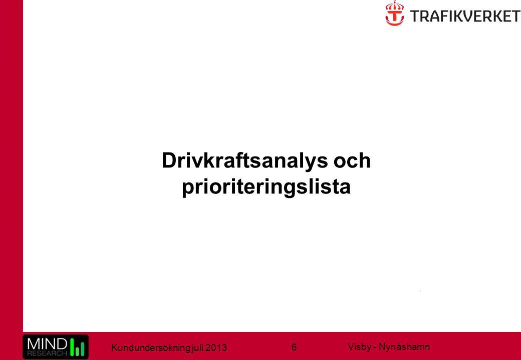 6 Kundundersökning juli 2013 Visby - Nynäshamn Drivkraftsanalys och prioriteringslista