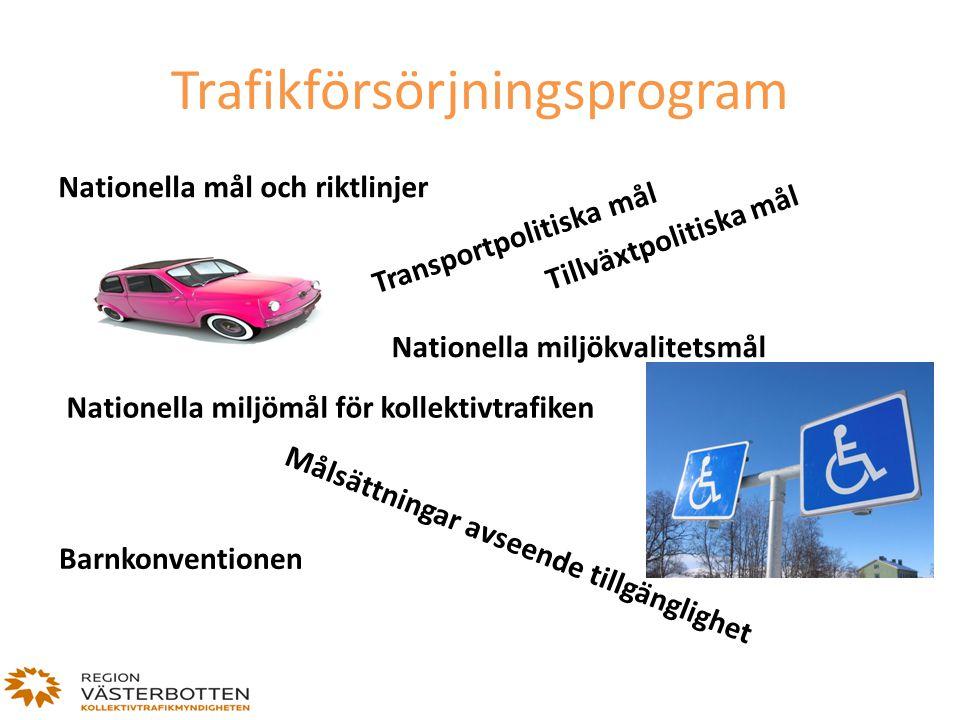 Nationella mål och riktlinjer Transportpolitiska mål Tillväxtpolitiska mål Nationella miljökvalitetsmål Nationella miljömål för kollektivtrafiken Måls