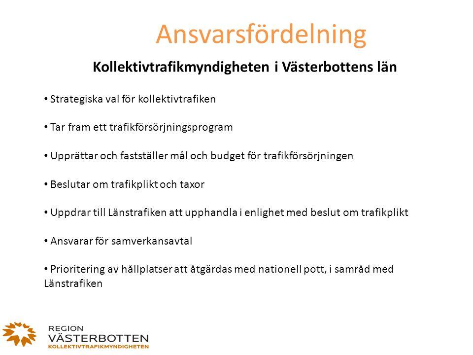 Ansvarsfördelning Kollektivtrafikmyndigheten i Västerbottens län Strategiska val för kollektivtrafiken Tar fram ett trafikförsörjningsprogram Upprätta