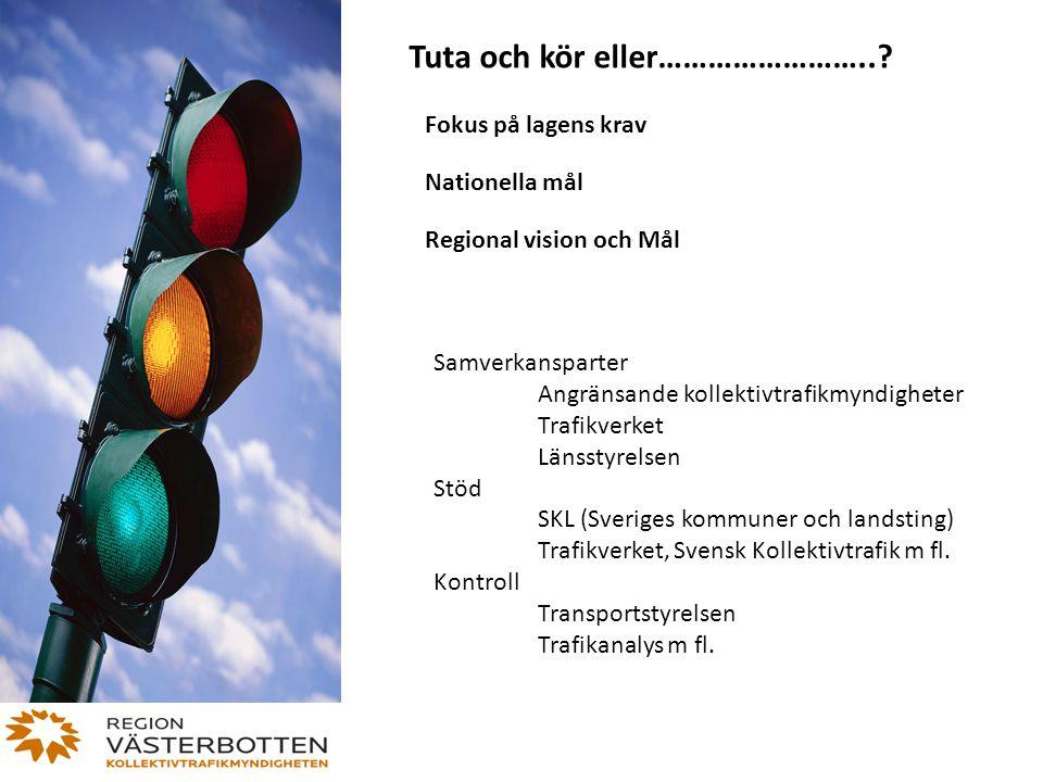 Tuta och kör eller……………………..? Fokus på lagens krav Nationella mål Regional vision och Mål Samverkansparter Angränsande kollektivtrafikmyndigheter Traf