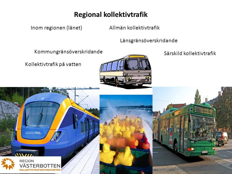 Regional kollektivtrafik Inom regionen (länet) Länsgränsöverskridande Kommungränsöverskridande Kollektivtrafik på vatten Särskild kollektivtrafik Allm