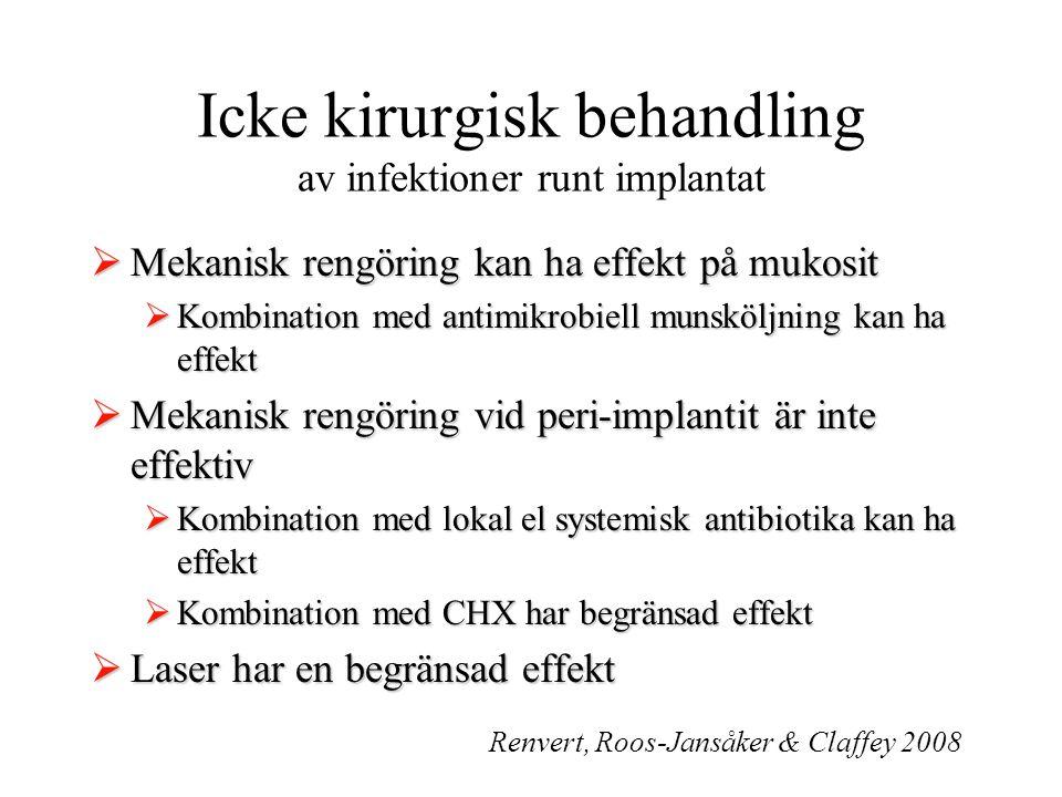 Icke kirurgisk behandling av infektioner runt implantat  Mekanisk rengöring kan ha effekt på mukosit  Kombination med antimikrobiell munsköljning ka