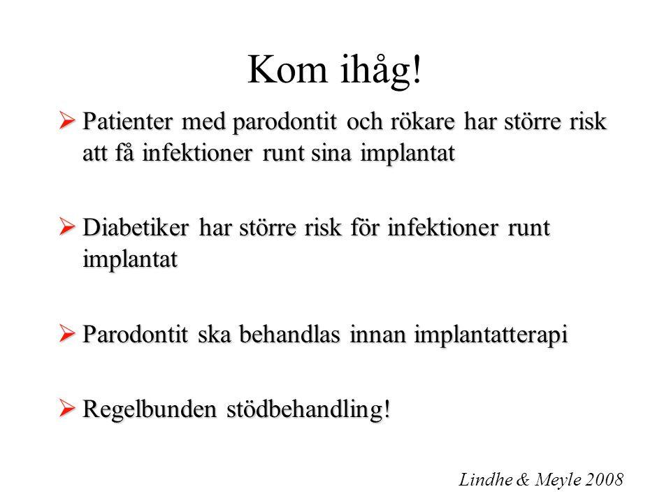 Kom ihåg!  Patienter med parodontit och rökare har större risk att få infektioner runt sina implantat  Diabetiker har större risk för infektioner ru