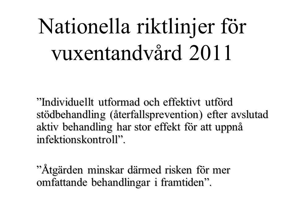 """Nationella riktlinjer för vuxentandvård 2011 """"Individuellt utformad och effektivt utförd stödbehandling (återfallsprevention) efter avslutad aktiv beh"""