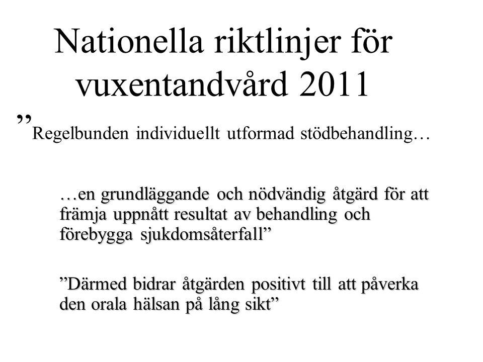 """Nationella riktlinjer för vuxentandvård 2011 """" Regelbunden individuellt utformad stödbehandling… …en grundläggande och nödvändig åtgärd för att främja"""