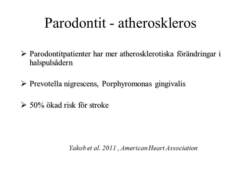 Parodontit - atheroskleros  Parodontitpatienter har mer atherosklerotiska förändringar i halspulsådern  Prevotella nigrescens, Porphyromonas gingiva