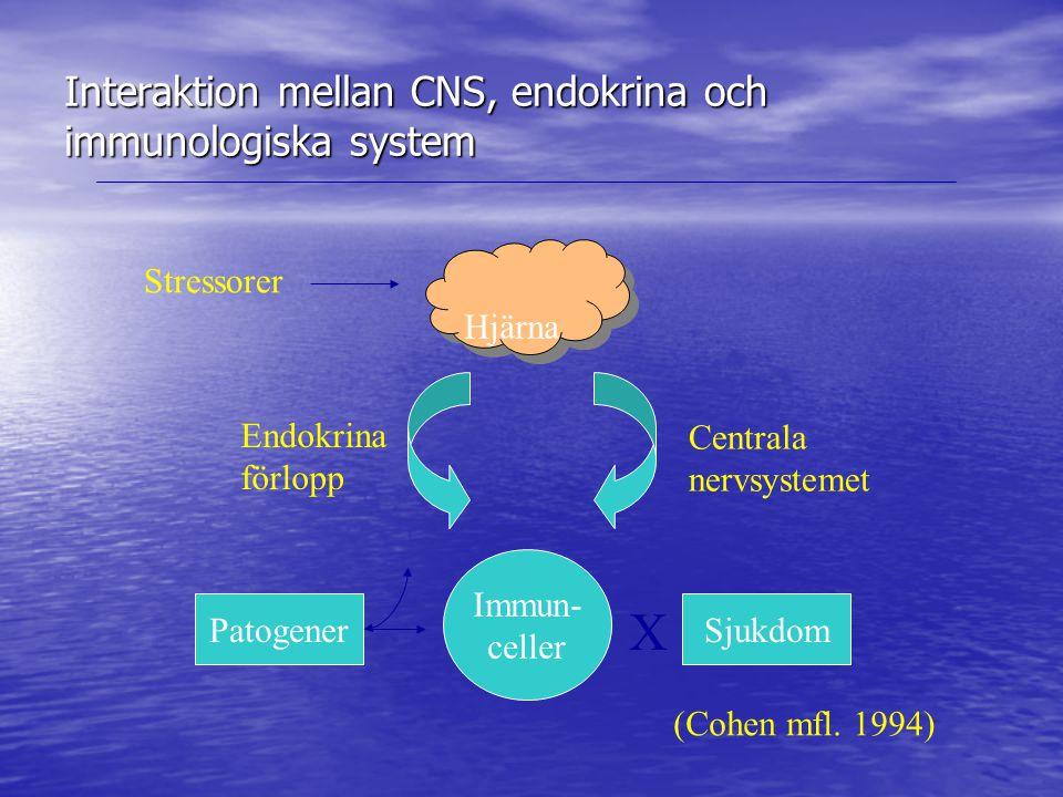 Interaktion mellan CNS, endokrina och immunologiska system Hjärna Stressorer Immun- celler Endokrina förlopp Centrala nervsystemet PatogenerSjukdom X (Cohen mfl.