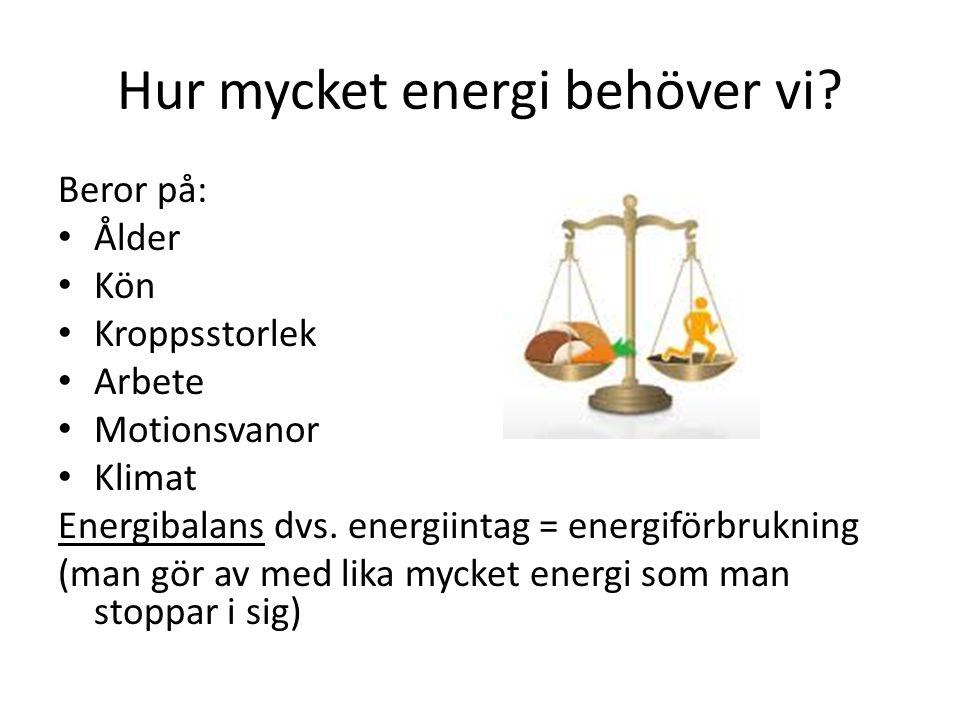 Hur mycket energi behöver vi? Beror på: Ålder Kön Kroppsstorlek Arbete Motionsvanor Klimat Energibalans dvs. energiintag = energiförbrukning (man gör