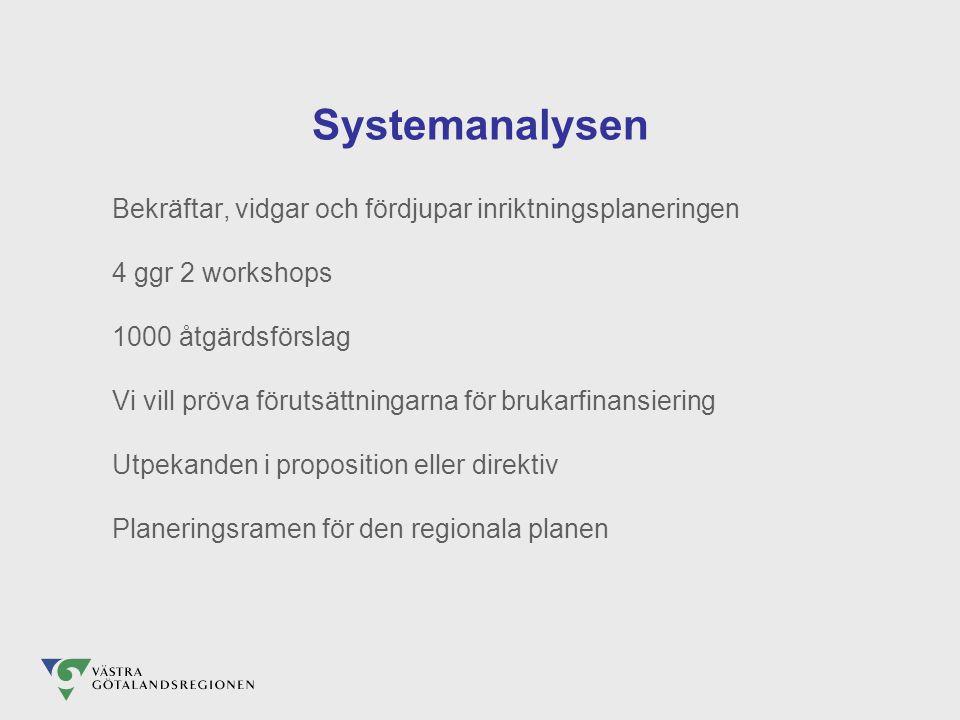 Systemanalysen Bekräftar, vidgar och fördjupar inriktningsplaneringen 4 ggr 2 workshops 1000 åtgärdsförslag Vi vill pröva förutsättningarna för brukarfinansiering Utpekanden i proposition eller direktiv Planeringsramen för den regionala planen