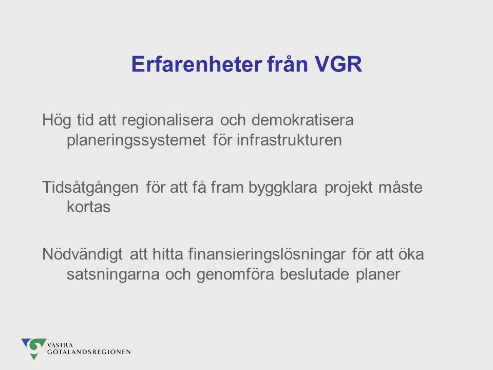 Erfarenheter från VGR Hög tid att regionalisera och demokratisera planeringssystemet för infrastrukturen Tidsåtgången för att få fram byggklara projekt måste kortas Nödvändigt att hitta finansieringslösningar för att öka satsningarna och genomföra beslutade planer
