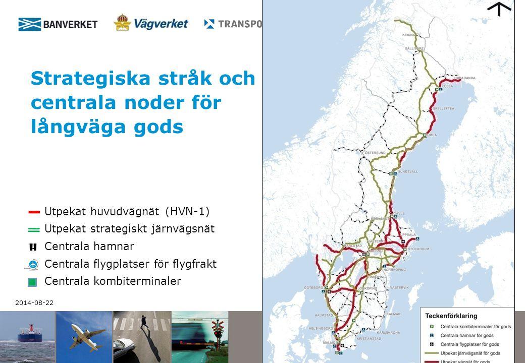 2014-08-22 1 Strategiska stråk och centrala noder för långväga gods Utpekat huvudvägnät (HVN-1) Utpekat strategiskt järnvägsnät Centrala hamnar Centra
