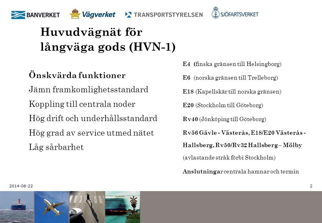 2014-08-22 2 Huvudvägnät för långväga gods (HVN-1) E4 ( finska gränsen till Helsingborg) E6 (norska gränsen till Trelleborg) E18 (Kapellskär till nors