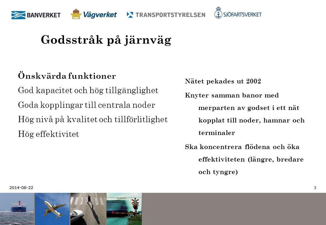 2014-08-22 3 Godsstråk på järnväg Nätet pekades ut 2002 Knyter samman banor med merparten av godset i ett nät kopplat till noder, hamnar och terminale