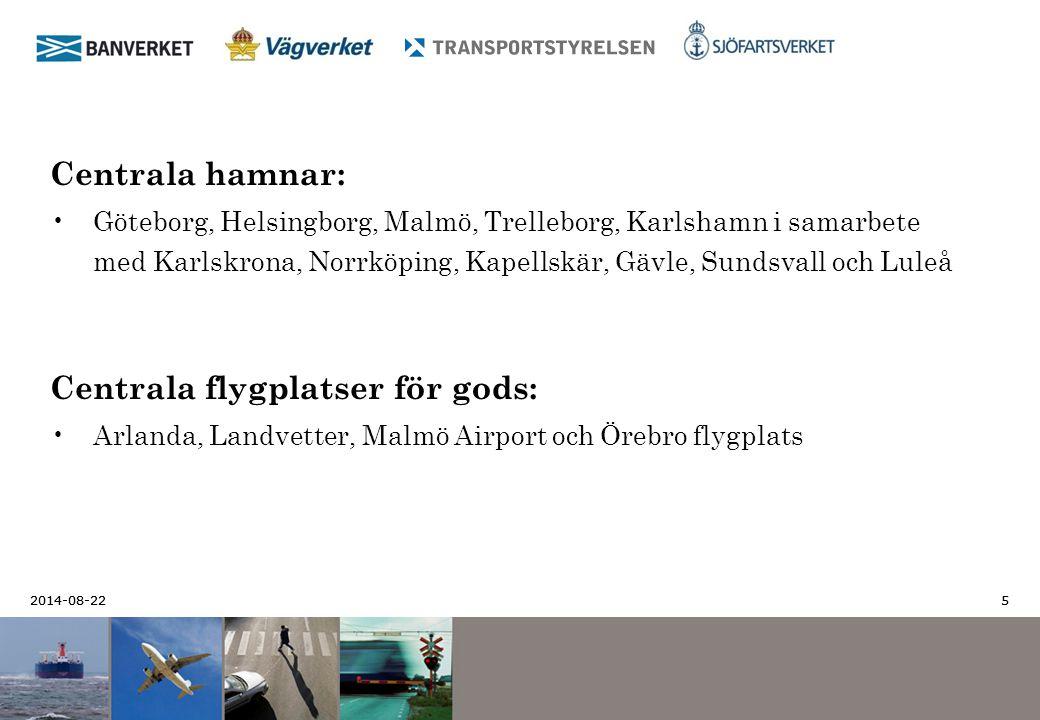 2014-08-22 5 5 Centrala hamnar: Göteborg, Helsingborg, Malmö, Trelleborg, Karlshamn i samarbete med Karlskrona, Norrköping, Kapellskär, Gävle, Sundsva