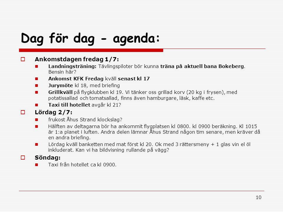 10 Dag för dag - agenda:  Ankomstdagen fredag 1/7: Landningsträning: Tävlingspiloter bör kunna träna på aktuell bana Bokeberg.